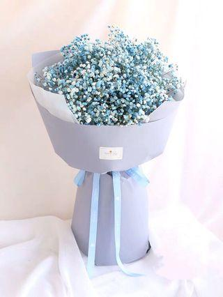 Fantasy baby's breath bouquet| pink, white and blue available