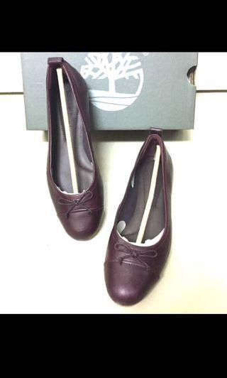 Timberland真皮酒紅色娃娃鞋平底鞋巴蕾舞鞋