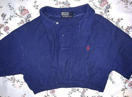 🚚 Vintage blue polo cropped top