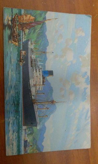 The Blue Funnel Line postcard during WWII二战英國貨船