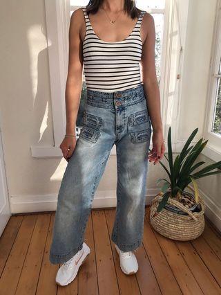 Wide leg jeans high waisted