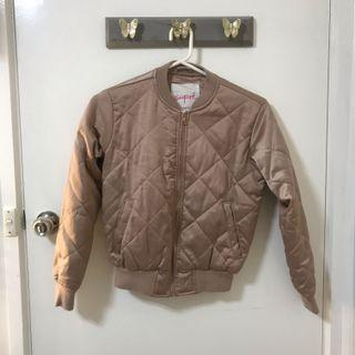 Supre satin quilted bomber jacket in pink XXS/XS 6