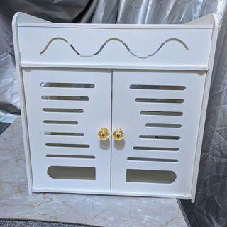 無線路由器收納盒壁掛式機頂盒置物架電源線排插wifi收納盒免打孔4層大號長30cm寬19cm高32.5cm內
