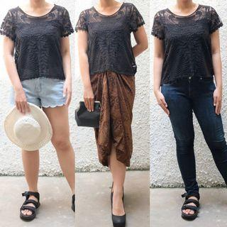 Multiway black top brukat kondangan summer casual
