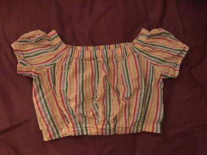Forever21 rainbow stripes crop top