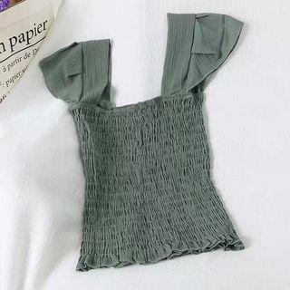 BNIP RUFFLE STRAP RIBBED TOP IN OLIVE GREEN #AMPLIFYJULY35