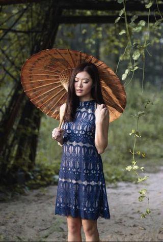 Lollyrouge Lantern Riddle Lace Halter Dress in Violet #AMPLIFYJULY35