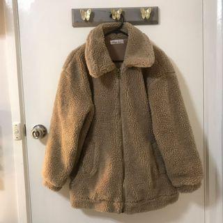 Ally teddy bear jacket oversized zipper size XS 6