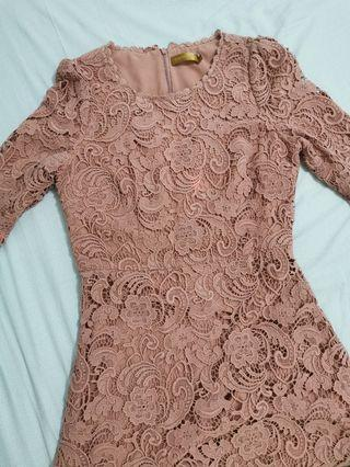 Old rose laced dress