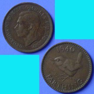Coin UK Great Britain Farthing 1940 KGVI km 843
