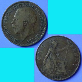 Coin UK Great Britain 1 Penny dated 1917 KGV km 810