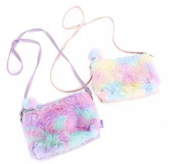 🚚 Rainbow Faux Fur Crossbody Sling Bag - 2 colors