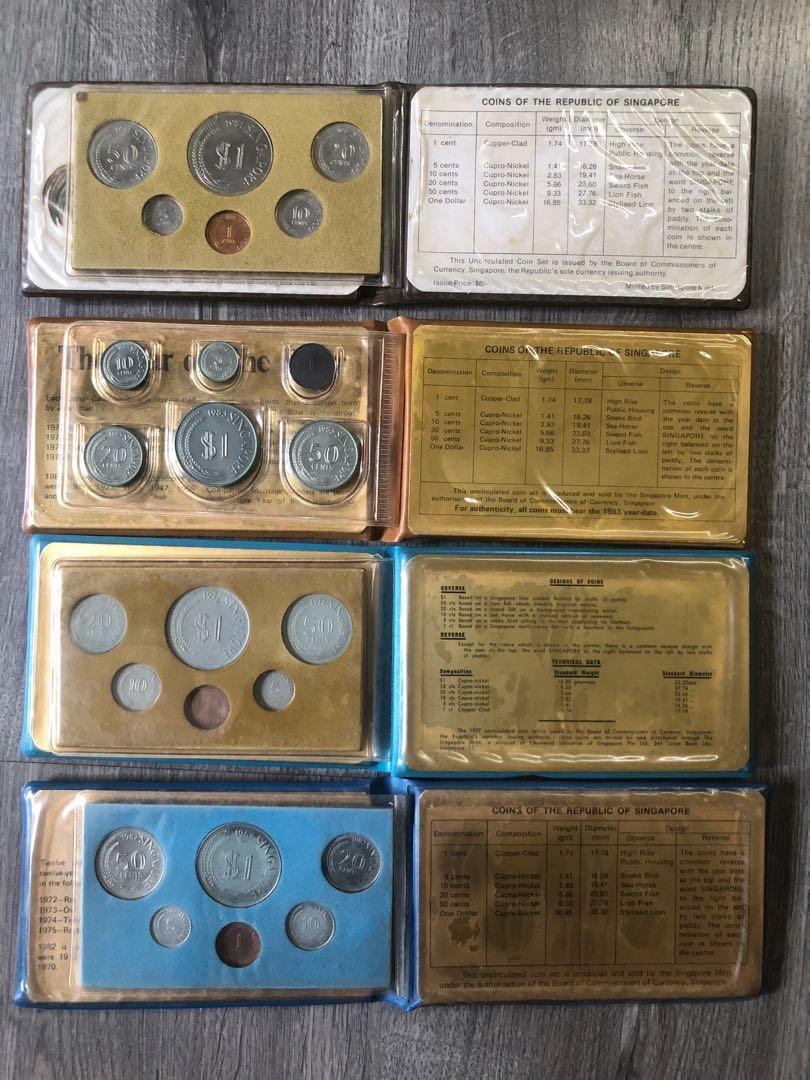 1977, 1981, 1982, 1983, Uncirculated Coins Set Boar, Rooster, Snake, Dog