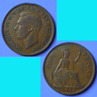 Coin UK Great Britain 1 Penny 1937 KGVI km 845