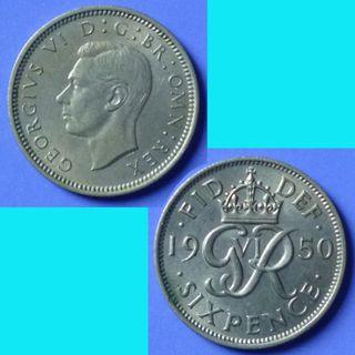 Coin UK Great Britain 6 Pence dated 1950 KGVI km 875
