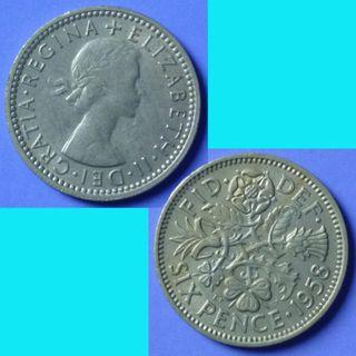 Coin UK Great Britain 6 Pence dated 1958 QEII km 903