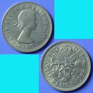 Coin UK Great Britain 6 Pence dated 1966 QEII km 903