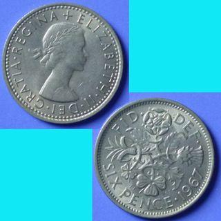 Coin UK Great Britain 6 Pence dated 1967 QEII km 903