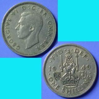 Coin UK Great Britain 1 Shilling 1949 km 877 Scottish Crest