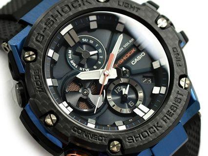 Casio G-Shock G-Steel GST-B100XB-2A GST-B100XB GST-B100 GSTB100XB GSTB100 Gsteel Carbon Fiber Bezel Bluetooth and Tough Solar Smartphone Men's Sports Watch