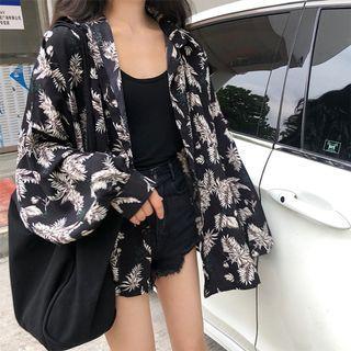 現貨+預購 VM 春夏新款 韓國復古chic時尚寬鬆百搭 樹葉印花長袖襯衫外套