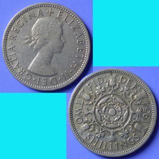 Coin UK Great Britain 2 Shillings Florin dated 1954 km 906