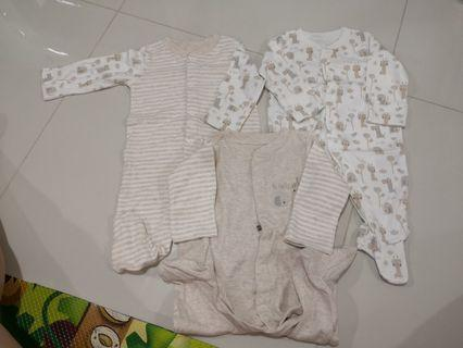 [Brand New] (0-3M) Mothercare Sleepsuits