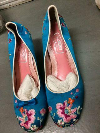 上海1930 女裝 3吋 藍色 繡花 高根鞋 高踭鞋 36 原價$2280