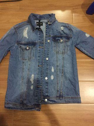 jaket jeans stradivarius oversized / demin stradivarius