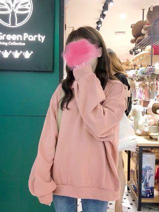 Pink/grey top hoodie sweatshirt