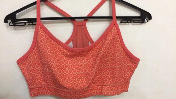 Lululemon orange sports bra printed
