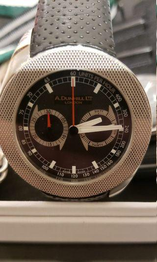 Dunhill watch men 銀 皮 黑 鋼 driver automatic