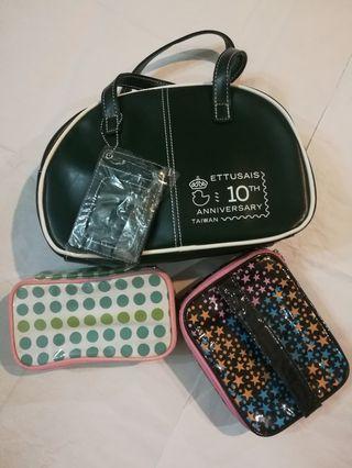 3pcs- 2 cosmetics bags + small handbag