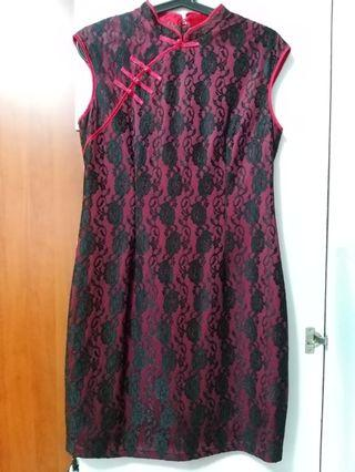 Red with Black Lace Cheongsam