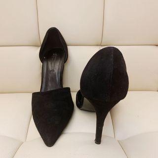 Women's Shoes Plain Black Pointed Faux Suede Heels