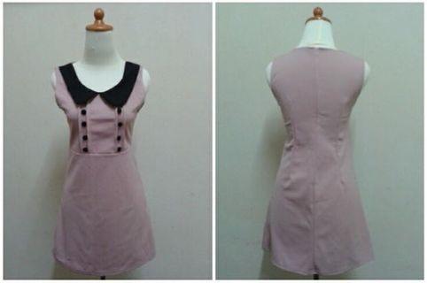 Button pink dress