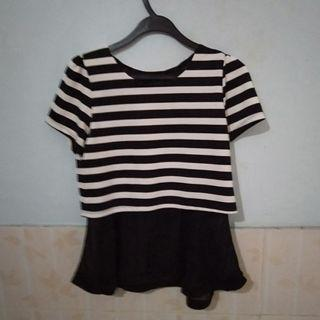 Stripe Top baju garis ribbon pita