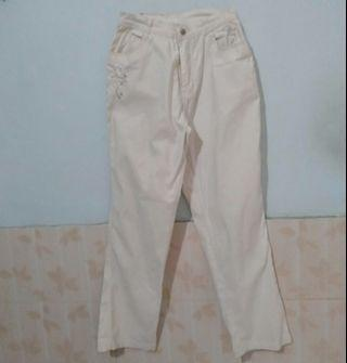 White Pants celana kain putih bordir