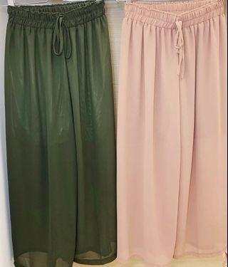 Loose Wide Leg Insert Sheer Mesh Trousers (Elastic Waist Free Size) Khaki Green/ Dusky Pink (Metallic Interior)