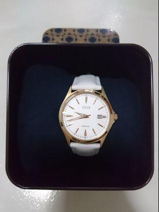 Titus Saphire Leather Strap (in White - Gold Color) 36mm Diameter 06-2490 (Authentic)