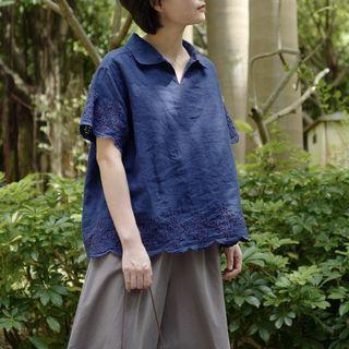 小翻領定位刺繡麻衫 4色