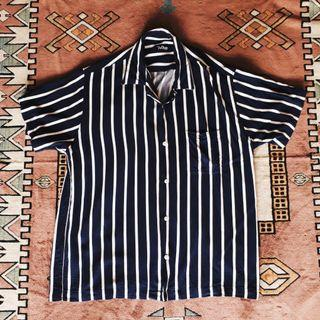 Tropic Thunder stripe bowling shirt