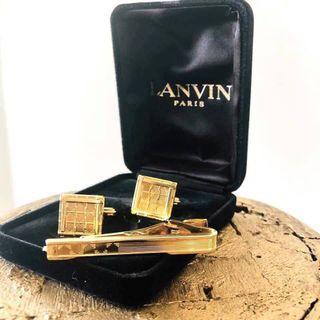 Auth. Vtg. LANVIN Luxury Tie Clip & Cufflinks Set
