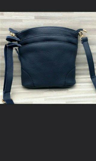BN Full Cow Leather 3 layer sling bag