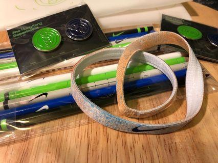 Nike sports headband (hair band) 頭帶 , Nike 木顏色筆及扣針