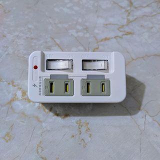 朝日科技 PTP-R50 2P高溫斷電2開2插分接器15A 九成新