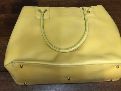 Agnes b yellow leather A4 size bag