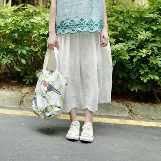 純棉刺繡半身裙 兩色