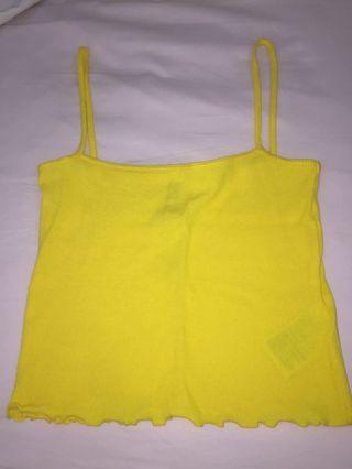 yellow ruffled tank top