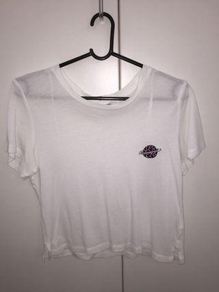cropped white graphic tee